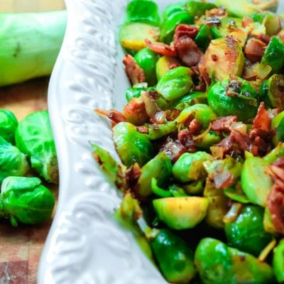 Pan Roasted Brussel Sprouts with Bacon & Leeks