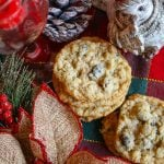 Oatmeal Cookies with Coconut and Raisins from overhead in a christmas setting