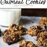 Pinterest pin of healthy oatmeal chocolate chip cookies beside a glass of milk