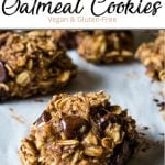 A close up of a healthy oatmeal chocolate chip cookie