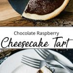 Pinterest pin showing a chocolate cheesecake tart with a single piece on a white plate with two forks