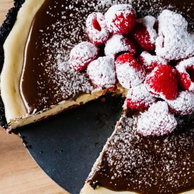 Chocolate Raspberry Cheesecake Tart