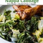 Pinterest pin showing a plate of roasted kale with some chicken