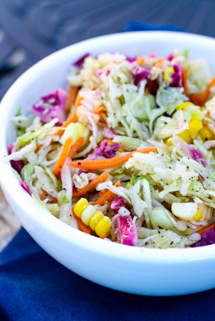 A bowl of coleslaw without mayo