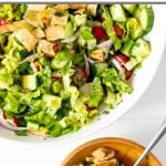 A summer veggie salad made with fattoush salad dressing