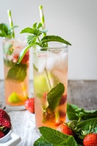 Pic showing two strawberry mojitos