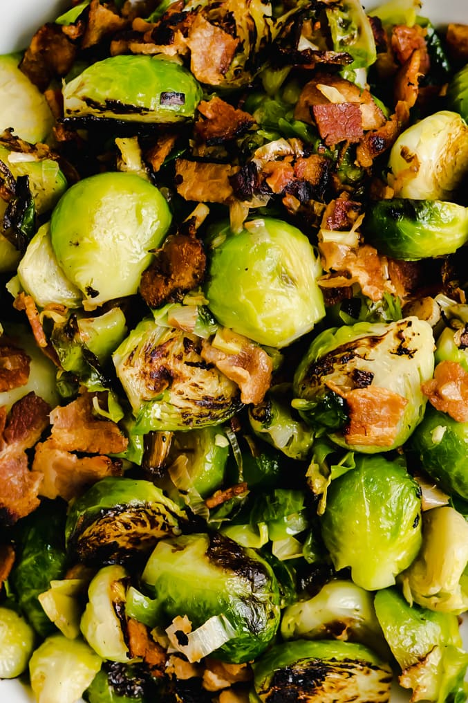 Close up of pan seared brussel sprouts and bacon