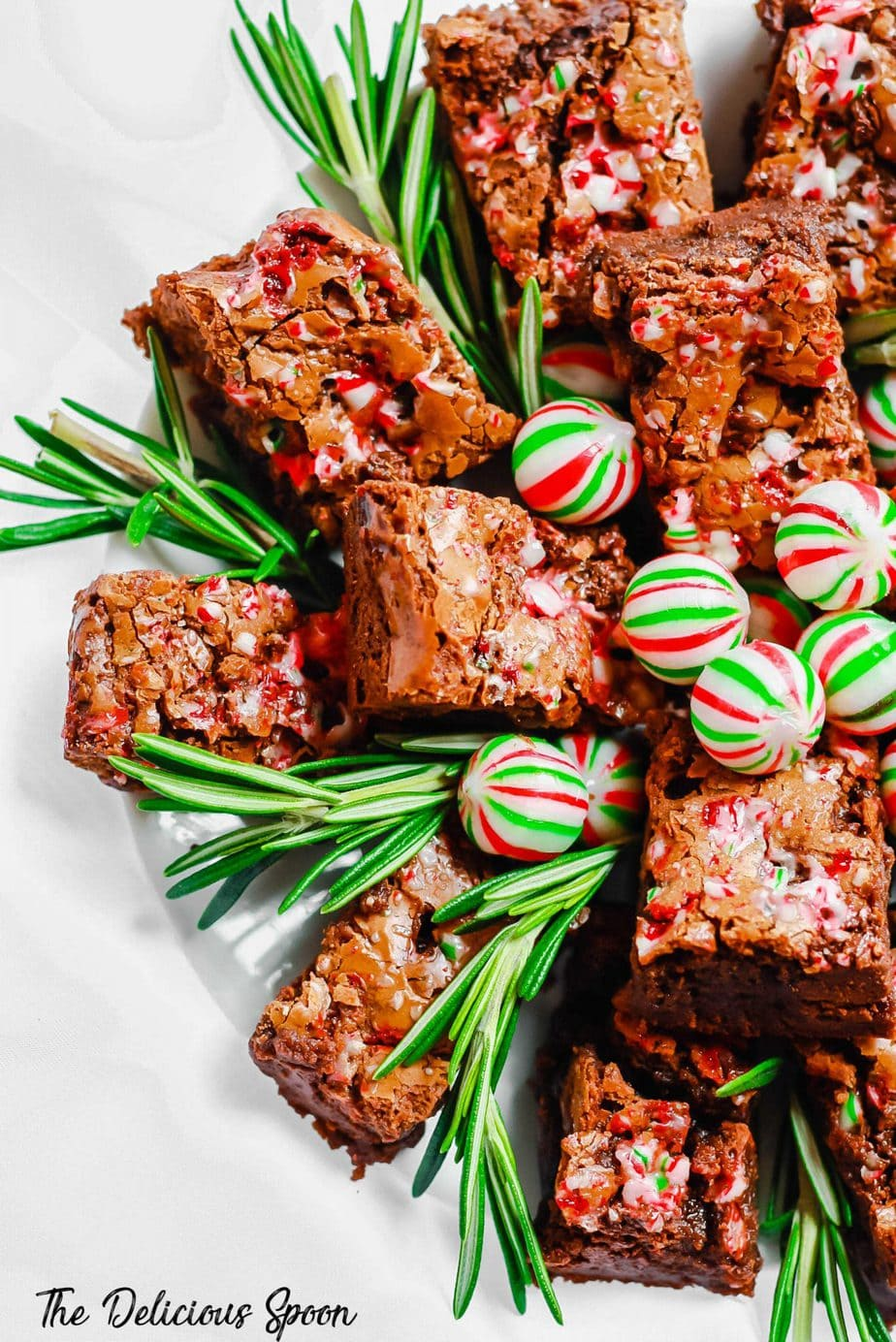 Peppermint Brownies with Candy Cane Crackle
