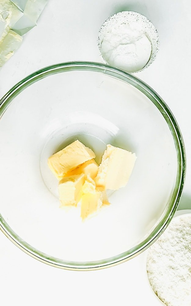 A large bowl filled with cubed butter