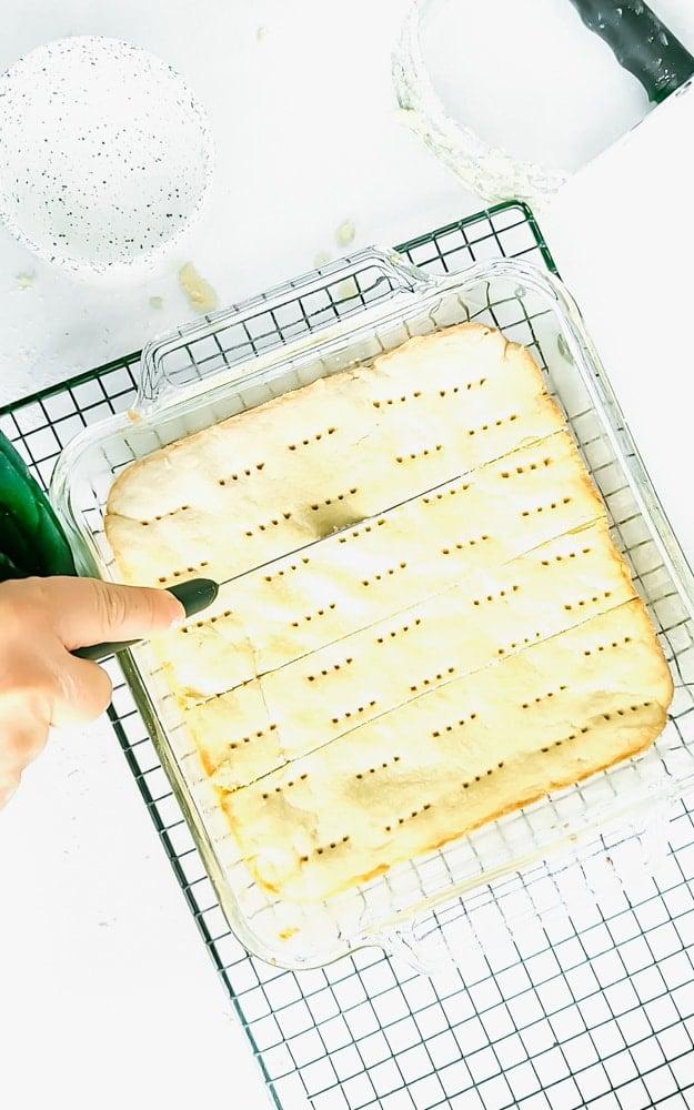 Shortbread bars in a glass baking dish