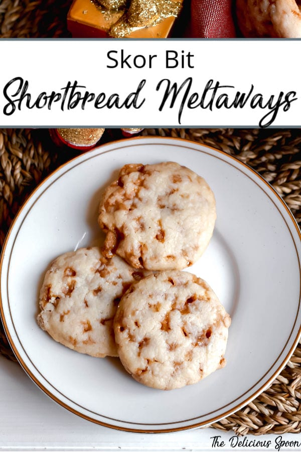 Pinterest Pin showing three shortbread meltaway cookies on a white and gold rimmed plate.