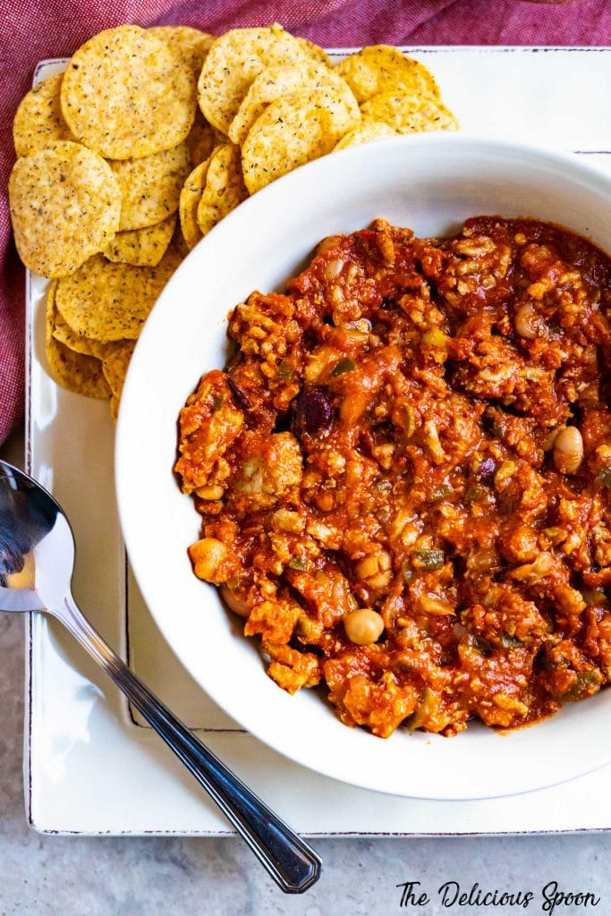 A bowl of healthy turkey chili