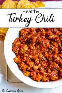 Pinterest pin of turkey chili recipe