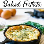 Pinterest pin showing a frittata in a small cast iron skillet with eggs and dill