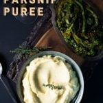 Pinterest pin showing a recipe for pureed parsnips