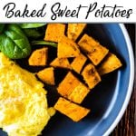 Pinterest pin of a plate of eggs and sweet potatoes