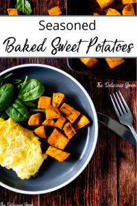 Plate of baked sweet potatoes and eggs for breakfast