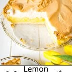 Pinterest pin showing a half eaten lemon pie with meringue.