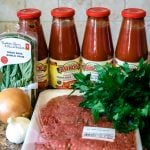 Ingredients laid of for homemade ragu
