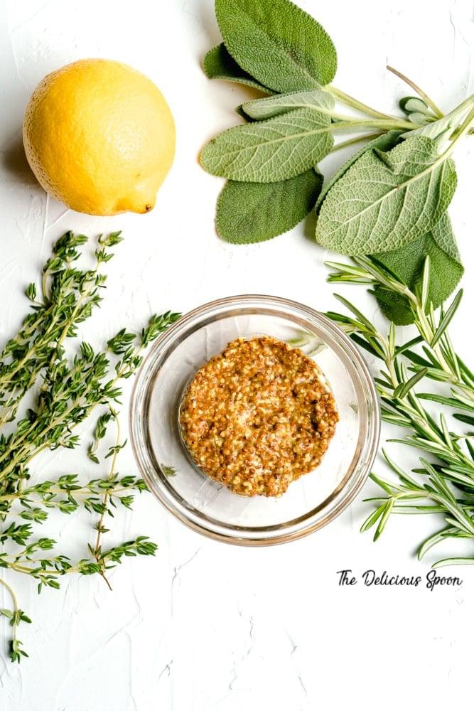 Herbs, Grainy Dijon Mustard and Lemon