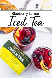 Pinterest pin of two glasses of blueberry lemon iced tea and a box of Bigelow Green Tea