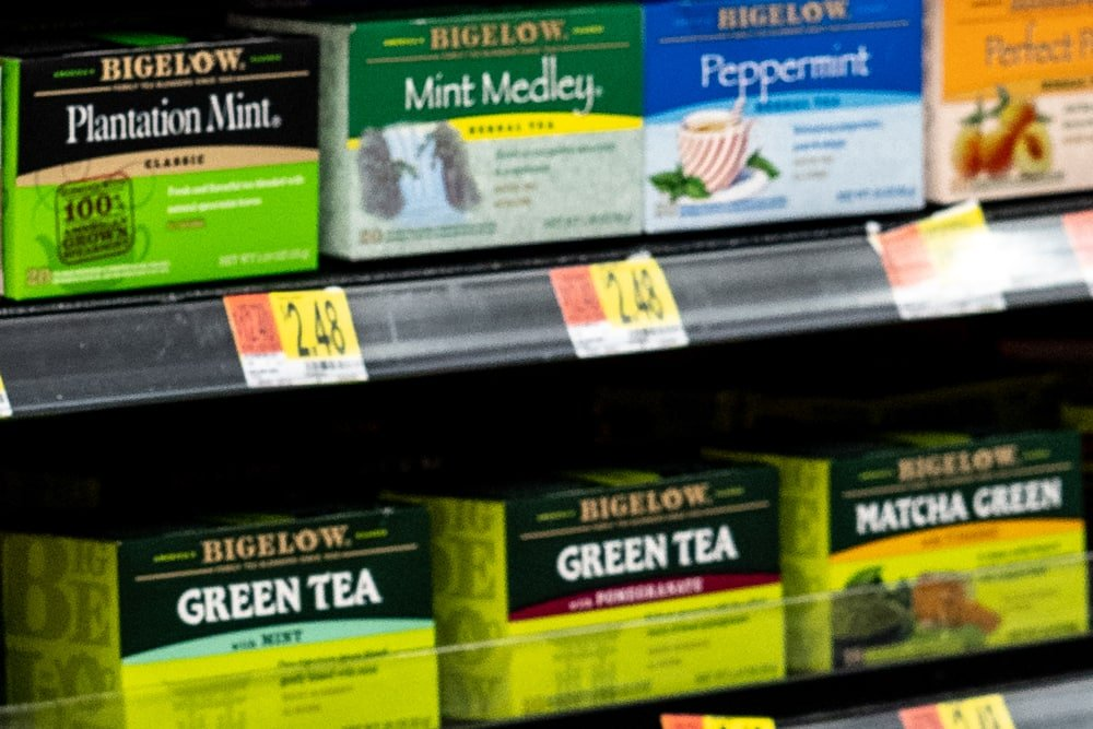 Shelf of Bigelow Tea at Walmart