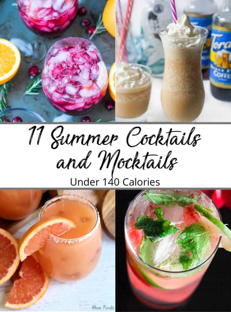 Collage of pictures for a cocktail and mocktail recipe roundup
