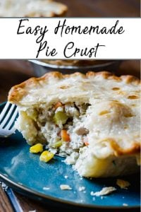 Pinterest Pine showing the flaky homemade pie crust of a turkey pot pie