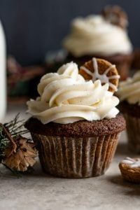 A close up of a gingerbread cupcake on a dark backdrop with a cookie in the top and some pinecones