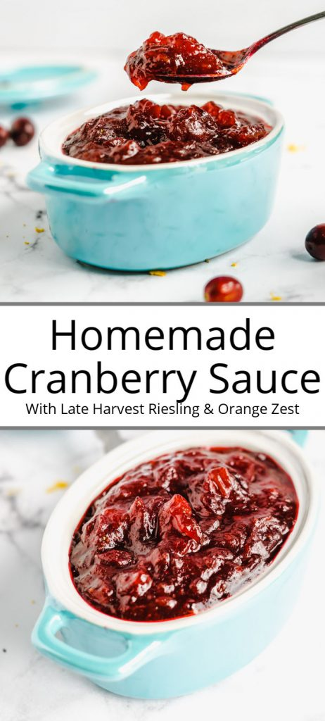 Pinterest pin of homemade cranberry sauce in a blue bowl with a white backround and cranberries around.