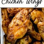 Pinterest pin of spicy oven baked wings close up