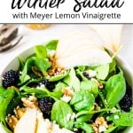A pinterest pin showing a bowl of winter spinach salad on a white table with a lemon vinaigrette