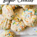 Vegan funfetti sugar cookie recipe pin showing a pile of vegan cookies