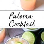 Pinterest pin for a Paloma Drink Recipe showing filled highball glasses on a tray with salt and limes