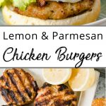Pinterest pin showing a dressed chicken burger and a plate of chicken burger patties.
