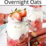 Pinterest pin showing two jars of strawberry oatmeal with fresh rhubarb on a white table with red napkins