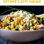 Mexican street corn salad recipe pin for pinterest showing two bowls filled