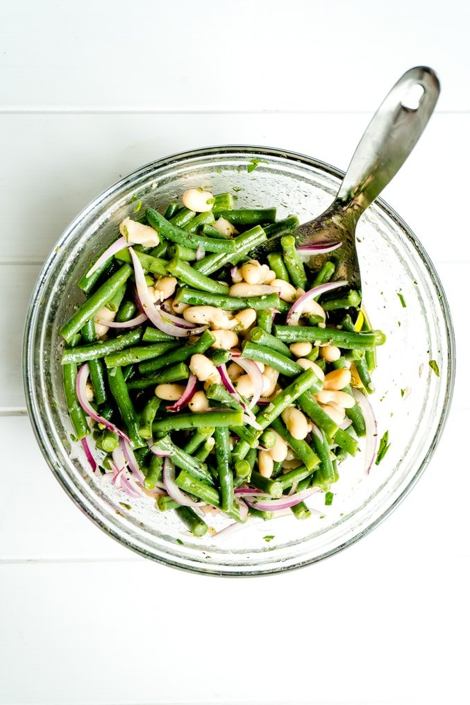A bowl of cold green bean salad