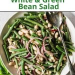 Pinterst pin for a cold green bean salad recipe