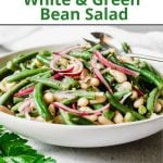 Pinterest pin showing a bowl of fresh green bean salad