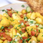 Pinterest pin for a peach salsa recipe