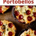 Pinterest pin of low carb pizza stuffed portabello mushrooms