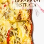A Pinterest pin showing a casserole dish with a baked strata recipe.