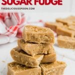 Pinterest pin showing a stack of old-fashioned fudge