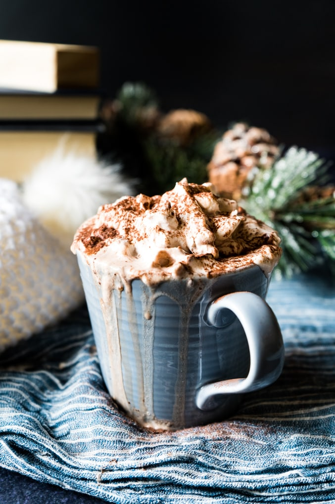 A mug of hot chocolate topped with whipped cream on a wintery tablescape