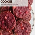 Pinterest pin showing red velvet cookies on a plate