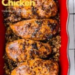A Pinterest pin showing four sweet and spicy chicken and rice.