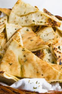 A close up of homemade pita chips