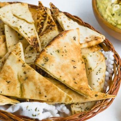 A basket of baked pita chips