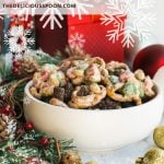 A Pinterest pin showing a bowl of Christmas Chex mix